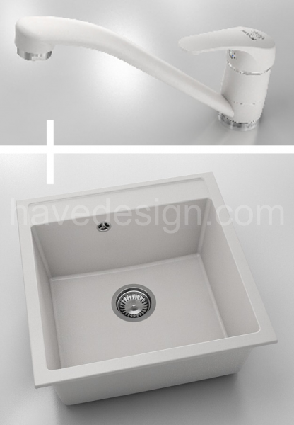 WHITE FATGRANIT SINK 51x51cm and white granit kitchen mixer